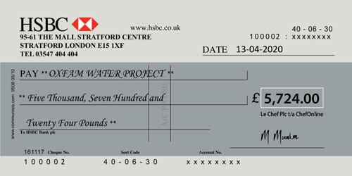 chefonline oxfam cheque